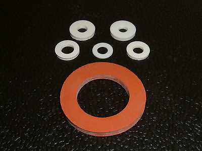10 Silicone Washers- I/D's from 4.1mm up to 22.6mm, 17 different sizes