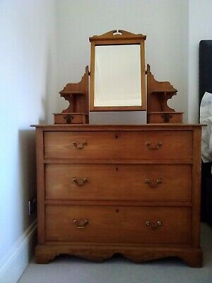 Bedroom Chest of Drawers / Dresser / Dressing Table Mirror Antique Victorian