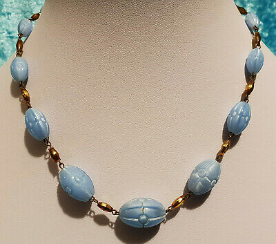 Vintage Original Art Deco Azure Blue Czech Pressed Glass Bead Necklace