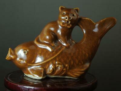 Chinese Old Hand-made Yellow Glaze Porcelain Cat & Fish Sculpture Statue