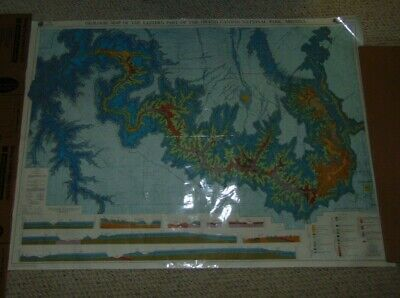 """Geologic map Eastern Part of the Grand Canyon National Park Laminated 58 X 40"""""""