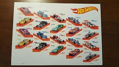 2018 50th Anniversary HOT WHEELS USPS Forever Stamps 20 Stamps FULL SHEET Mint