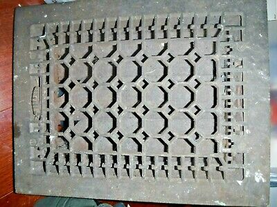 Antique Cast Iron Ferrosteel Heat Grate Floor Register Vent 9 x 12 - 11 x 14 Vtg