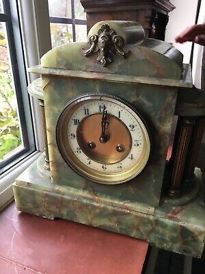 Green Marble Antique Mantel Clock