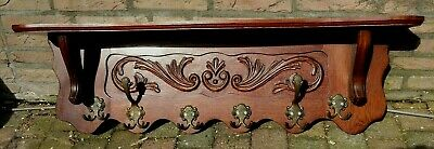 LARGE Antique Vtg French Oak Carved Kitchen Wall Shelf Copper Pot Coat Hat Rack