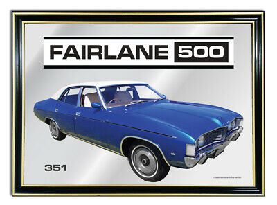 Metal Mirror Artwork A4 Suit Blue Ford Zg Fairlane 500--351 Enthusiasts