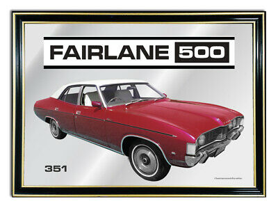 Metal Mirror Artwork A4 Suit Red Ford Zg Fairlane 500--351 Enthusiasts