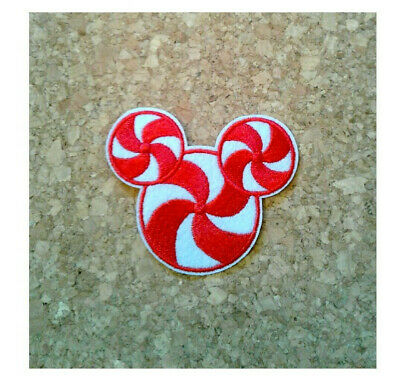 Mickey Mouse - Candy Cane - Peppermint - Christmas - Embroidered Iron On Patch