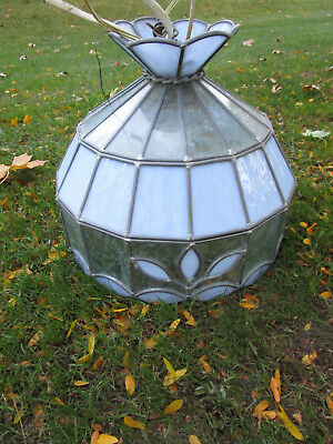 Vtg Blue Etched TIFFANY STYLE FLORAL STAINED GLASS SWAG Ceiling Light LAMP WoW!