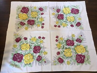 "Vintage Tablecloth White with yellow and red roses 50 x 56""  (K59)"