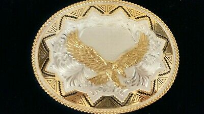 """NWT Montana Silversmiths Eagle Belt Buckle LARGE 5""""x4"""" Silver and Gold Finish"""
