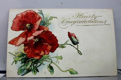 GREETINGS HEARTY CONGRATULATIONS Postcard Old Vintage Card