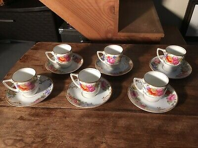Rosenthal The Dresden Flat Demitasse Cup Saucer Sets (6) White Floral Gold