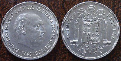 ESPAÑA - SPAIN: 5 Pesetas 1949-1950 UNC (18)   LIQUIDATION SALE!!!!!