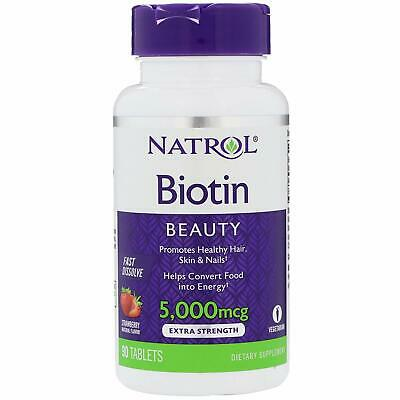 Natrol Biotin Beauty 5,000 mcg 90 tablets strawberry flavor Hair skin & nails