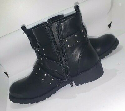 M&S Girls Black Leather Stud Boots