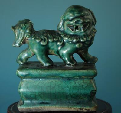 Chinese Old Hand-made Green Glaze Porcelain Lion Statue Seal