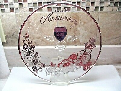 Gorgeous Rockwell 25Th Anniversary Glass & Sterling Silver Plate With 3 Feet