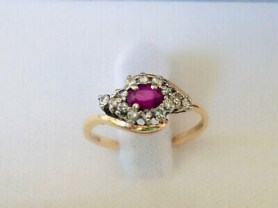Stunning Oval Ruby With Round Accent Diamonds 14K Yellow Gold Ring Size 8.5