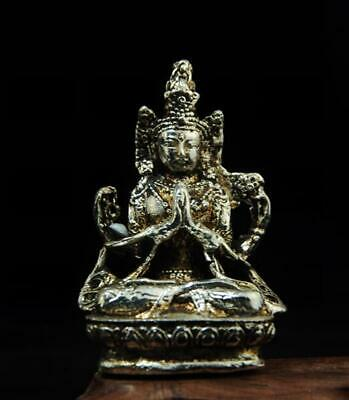 chinese old handmade cooper-plating silver guanyin statue