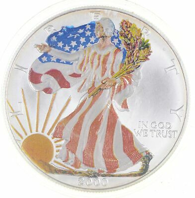 2000 Beautifully Painted/Sticker American Silver Eagle 1 Oz. .999 Fine *861