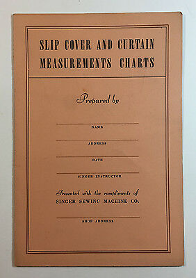 Singer Sewing Machine Slip Cover and Curtain Measurements Charts 1937