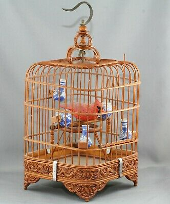 Fantastic Antique Chinese Bamboo Birdcage Dragon Motif w/Porcelain Feeders