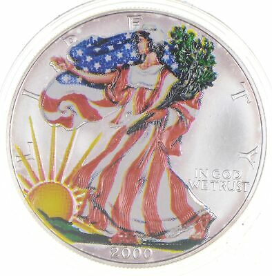 2000 Beautifully Painted/Sticker American Silver Eagle 1 Oz. .999 Fine *860