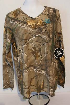c4e40ed47 Womens Realtree Xtra T Shirt Camouflage Size XL Top Deer Hunting Camo Bow V  Neck