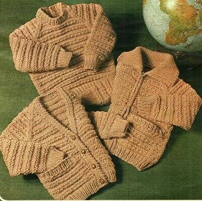 Toddler Children Knitting Pattern Jacket sweaters Jumpers Copy TEXTURED 12 Ply
