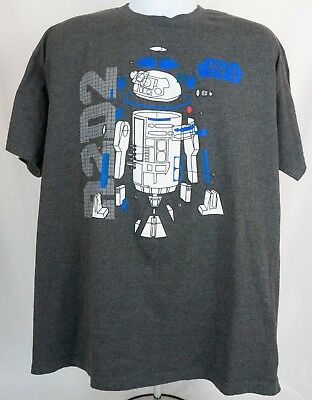 8cf04805 STAR WARS MENS T-Shirt Size L R2D2 Graphic Authentic Grey Short ...