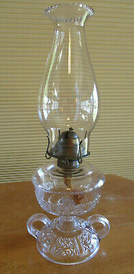 "1880's WINKER - CLEAR GLASS - FOOTED DOUBLE FINGER OIL LAMP -13.5"" TALL(62F)"