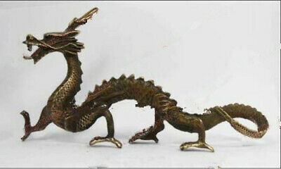 Collection Chinese Archaic Copper Handwork Dragon Statue