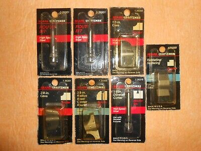 """Lot Of 7 New Vintage """"Sears Craftsman Usa"""" Router Bits ~ Nos"""