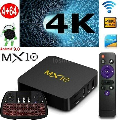 MX10 RK3328 Quad Core Android9.0 Smart TV Box 4+64GB USB 3.0 4K +Tastiera