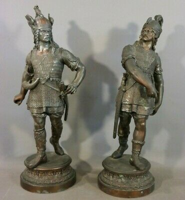 (2) 19thC Antique VICTORIAN Era NORSE WARRIOR Medieval VIKING Sculpture STATUE