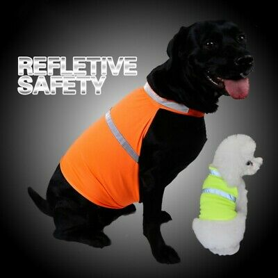 Fluorescent Security Pet Dog Reflective Vest Clothes Safety Jacket Coat Apparel