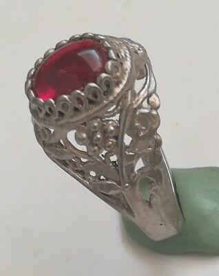Ancient Rare Stirling Silver Viking Ring With Natural Stone Spiritual