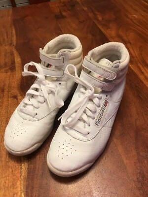 d164d2683f0 Reebok classics womens high top freestyle Shoe Size 5.5 white vintage retro  (MA)