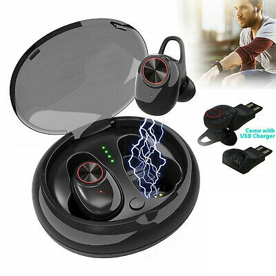 Wireless Earbuds Bluetooth V5.0 Headphones Sweatproof with Mic & Charging Box US