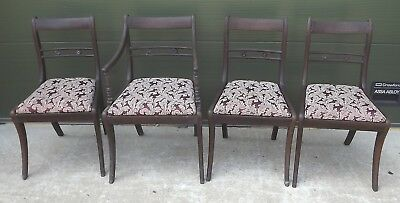 Set of 4 Antique Regency Mahogany Dining Chairs, One Carver, Need Restoration