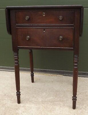 Antique Victorian Mahogany Drop-Leaf Work Table Side Table with Two Drawers