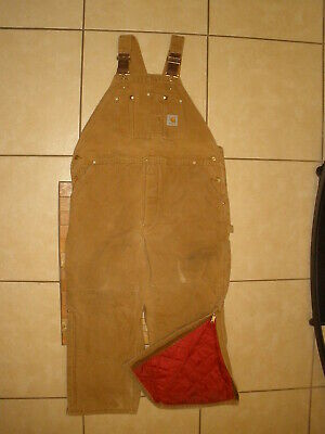 3f53fce2a9d43 CARHARTT R02 Brown QUILT LINED DOUBLE KNEE DUCK Bib Overalls USA MADE 44 X  28