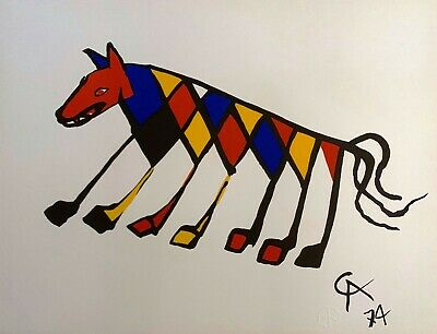 "Alexander Calder ""Beastie"" Original Lithograph Flying Colors Braniff Airlines"