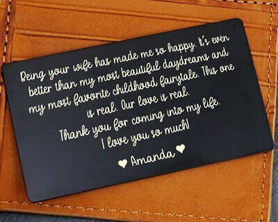 Custom Engraved Custom Metal Wallet Card Mini Love Note Gift For Him-DS-WC2A