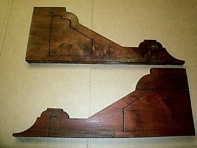 Antique Victorian Walnut Pediments Shelving Corbel Bracket Moulding Trim Salvage
