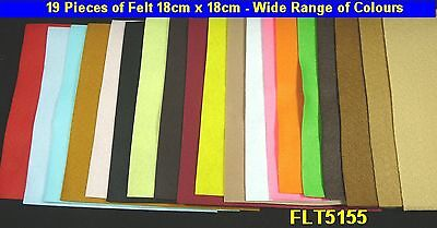 19 Pieces Felt Wide Colour Range; Those shown are being sold 18cm x 18cm HW5155
