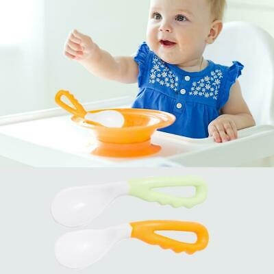 2Pcs Baby Infant Safe Spoon Solid Feeding Pacifier Bending Spoon Curved Training