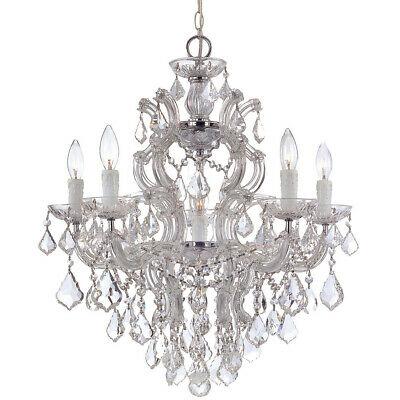 Crystorama 4435-CH-CL-MWP Maria Theresa Chandelier Polished Chrome