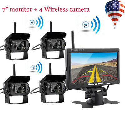 "4pcs Wireless IR Rear View Back up Camera System + 7"" Monitor For Truck RV Car"